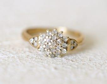 SALE! Vintage 9k yellow gold. 0.25 Carat diamond engagement wedding gold ring /boho bohemian gypsy ring.  size 5.5