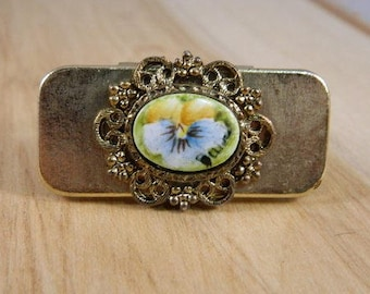 Vintage 1950s Lipstick Holder and Mirror Compact / Handpainted Floral Compact / Lipstick Case / Lipstick Holder