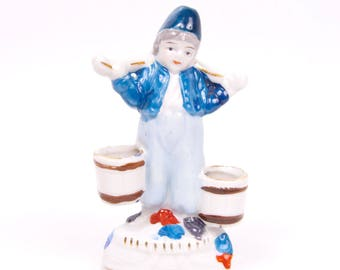 Vintage Dutch Boy Figurine Occupied Japan Hand Painted Porcelain Holland Decor Japanese Design
