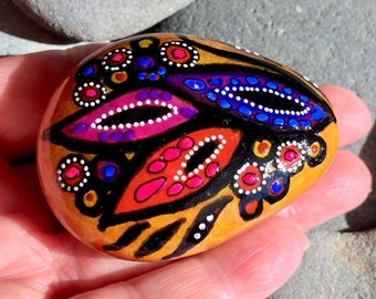 Boho feather leaves / painted stones / painted rocks/ paperweights/ boho art/ hippie art/ items for altars / tribal art/ feathers/ art rocks
