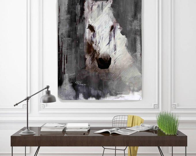 "Queen. Extra Large Rustic Black and White Farmhouse Horse Canvas Art Print, Cottage Chic Extra Large Horse Art up to 72"" by Irena Orlov"
