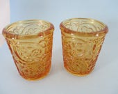 Vintage set of 2 Candle holder amber votive candle holder by Partylite used good condition