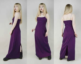 90s Purple Iridescent Spaghetti Strap Maxi Dress M