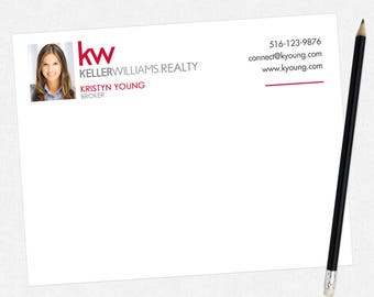 Keller Williams real estate flat notecards - KW personal stationery - thick, matte, full color both sides - free UPS ground shipping