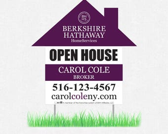 """house shaped yard sign - 23"""" x 23"""" lawn sign - full color both sides - FREE design and UPS ground shipping"""