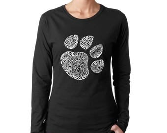 Women's Long Sleeve T-Shirt - Cat Paw Prints created out of the Word Meow