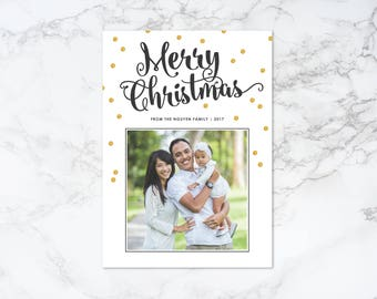 Printable Modern Holiday/Christmas Photo Card with Glitter Confetti