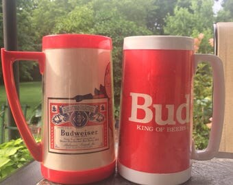 Vintage BUD Mugs Thermo Serve  Coffee Mugs BEER Mugs Set of two Bud Man