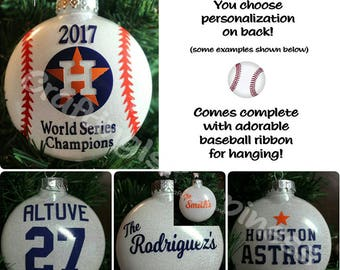"""HOUSTON ASTROS -  FREE Personalized 2017 World Series Commemorative 4"""" Tree Shatterproof Ornament makes the perfect Christmas gift!"""