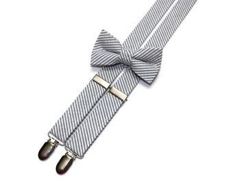 Boys Seersucker Suspenders~Gray Seersucker~Boys Suspenders~Wedding Suspenders~Wedding~Boys Seersucker Bow Tie~Boys Suspender Set
