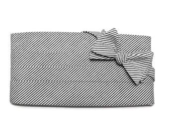 Black Seersucker Stripe Cummerbund & Bow Tie~Mens Cummerbund Set~Mens Formal Wear~Groomsmen~Groom~Self Tie Bow Tie~Men Gift~Wedding
