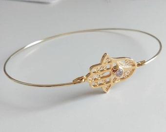 Gold hamsa bracelet - Filigree hamsa bangle - Gold and cubic zirconia bracelet - Hippie Boho gypsy bracelet - Kabbalah jewelry - Minimalist