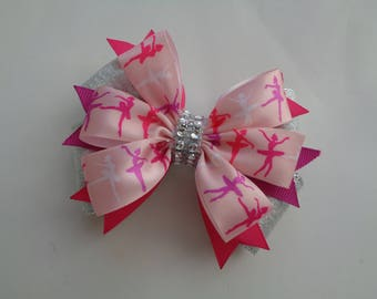 Fuchsia Ballet Hair Bow, Ballerina Silhouette Bow, Silver Ballet Bow, Ballet Hair Bow, Ballet Recital Gift, Ballet Birthday Gift