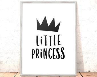 Little Princess Print | Scandi Nursery Print Modern Kids Room Nursery Art | Art for Girls Room Kids Room | Nordic Nursery Art | Monochrome
