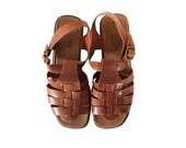 Boho Sandal Women Shoe Size 9 Women Hippie Shoe Bohemian Sandal Boho Chic Shoe Bohemian Shoe Brown Sandal Flat Sandal Woven Leather Shoe