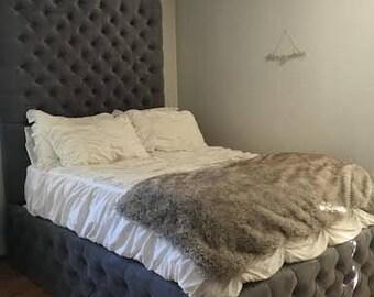 Velvet Diamond Tufted Headboard and Tufted Bed Frame Set-KING, Extra Tall