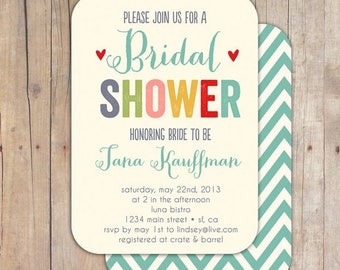 SUMMER SALE Whimsical Bridal Shower Invitation Baby Shower Invite Printable OR Printed Card
