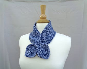 Blue Marl Neck Scarf, Cashmere, Ascot Bow, Pull Through Keyhole, Small Neck Scarf, Hand Knit Neck Warmer