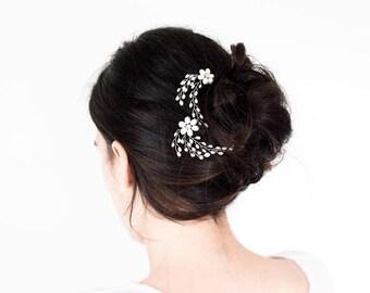 8542_White hair pins, Elegant bridal hair accessory, Ivory pearl hair pins, Wedding silver pins, Antique silver pins, Bridal hair jewelry