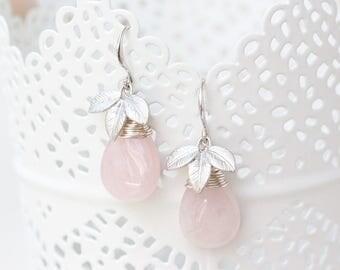Rose quartz earrings, Pink teardrop earrings, Silver leaves earrings, Quartz teardrop earrings, Pink bridal gift jewelry, Gift earrings 754