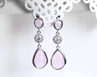 656_Pink silver earrings, Silver teardrop earrings, Pink crystal dangle earrings, Blush teardrop jewelry earrings, CZ drop crystals earrings