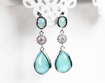 656 Mint silver earrings, Mint crystal earrings, Green CZ teardrop earrings, Light blue earrings, Cubic zirconia drop earrings, Mint jewelry