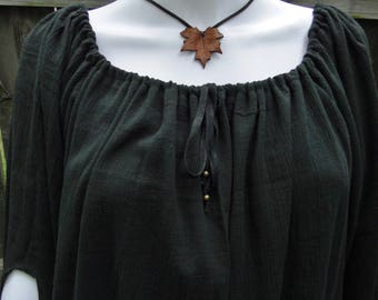 Renaissance Chemise, Womens Blouse Top, Bell Sleeve, One-Size-Fits-All S, M, L, XL - Black Gauze Fabric