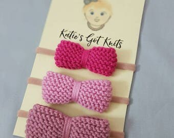 Baby Bow Headband Knitting Pattern (3 Sizes)
