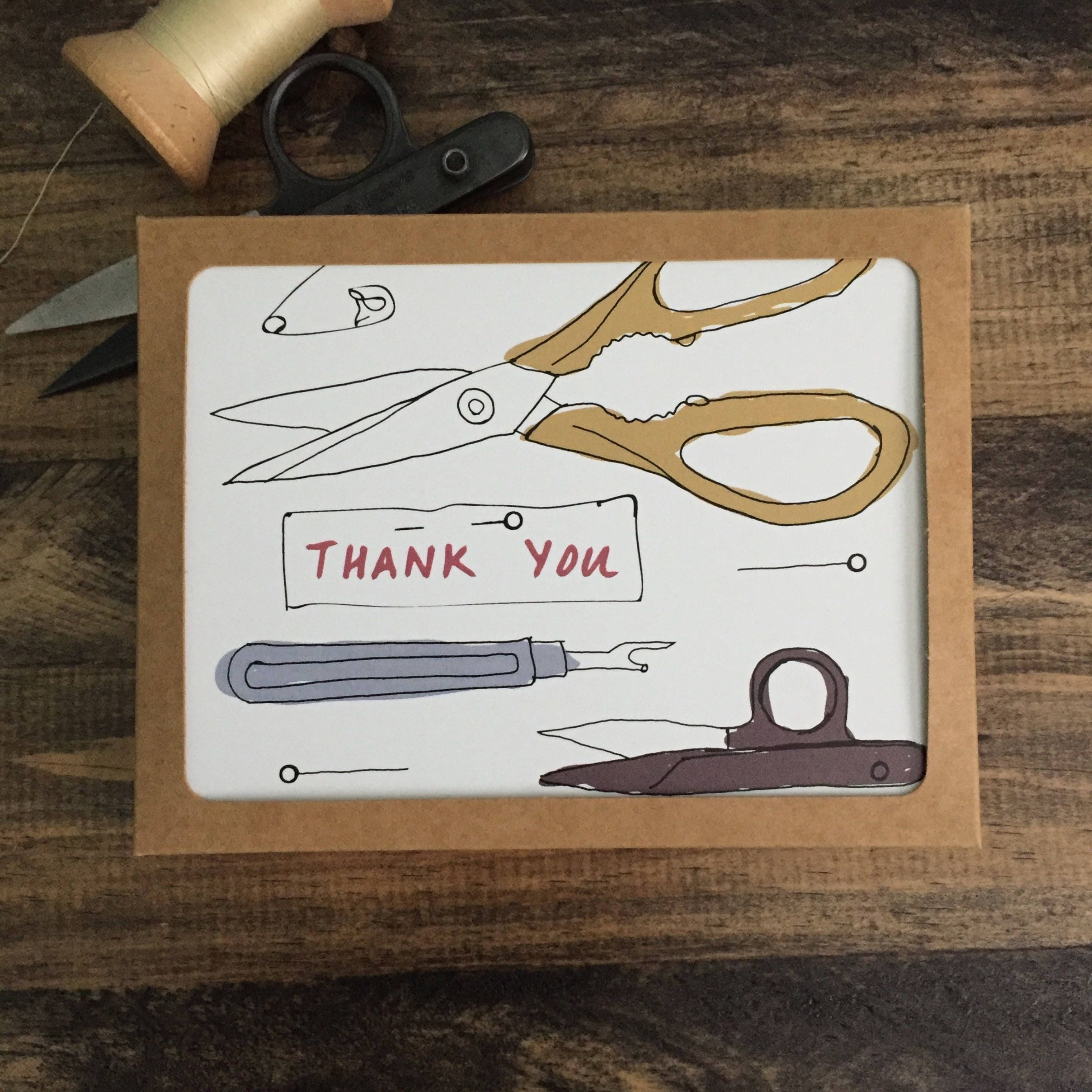 Pack of 9 thank you cards appreciation cards modern sewing pack of 9 thank you cards appreciation cards modern sewing themed greeting card mixed designs kristyandbryce Gallery