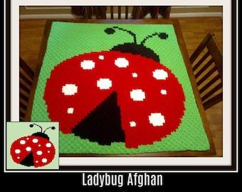 Ladybug Baby Afghan, C2C Graph, & Written Word Chart