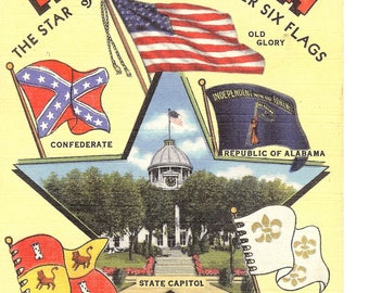 Vintage Linen Postcard...Alabama, The Star of the South-Under Six Flags..Unused..no. AL0005