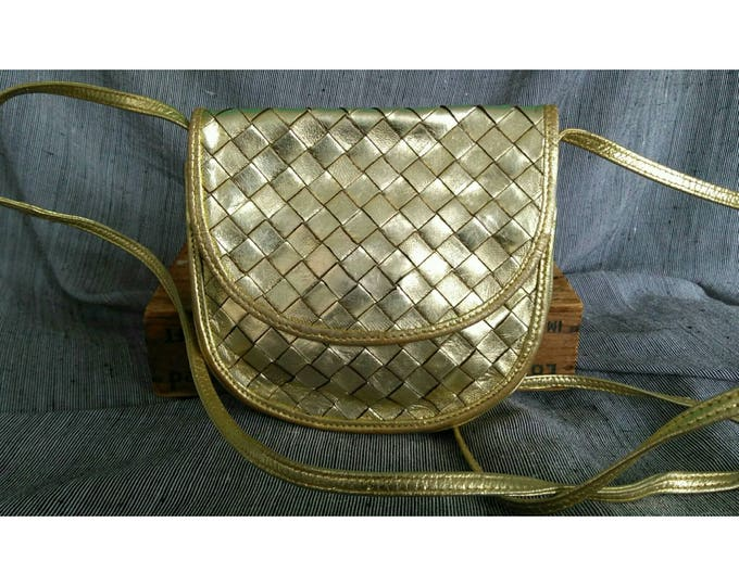 Featured listing image: Vintage 1980s Bottega Veneta Gold Braided Woven Intrecciato Leather Shoulder Cross Body Bag Pouch Hard to Find