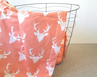 Deer Head Peach Baby Blanket || Buck Baby Blanket with White Minky || Peach & White Baby Blanket || Peach Deer Blanket