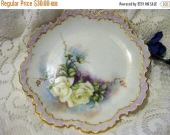 30% Off Clearance Sale Antique 1896-1907 R/C Monbijou Bavaria White Roses Plate-Gorgeous