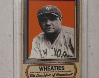 vintage babe ruth wheaties card in a screwdown case