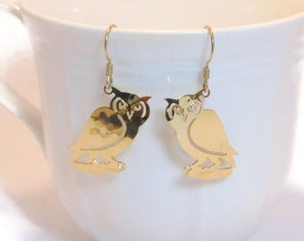 Wild Bryde owl earrings, gold-plated, barn hoot owl, finely detailed etching, cutout work, pierced french hook, hammered gold