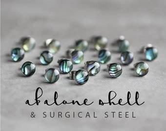 Paua shell earring studs, Surgical steel posts, Abalone earrings, Tiny earring studs, Mermaid jewelry, Shell earring, wedding earrings