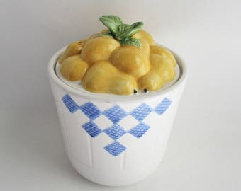 Vintage Canister Pfaltzgraff Treasure Craft Yellow Pears Fruit Basket Hopscotch Pattern