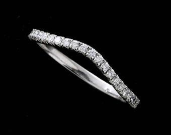 Diamond Wedding Ring, Slightly Curved Wedding Ring, Skinny Contour Platinum Band, French Cut Down Micro Pave Diamond Wedding Ring 1.7mm