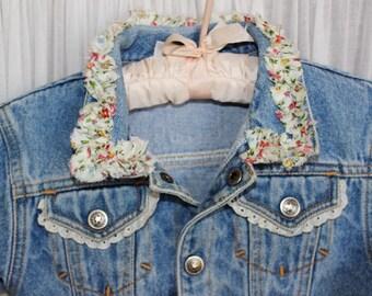 Infant Denim upcycled Jacket Shabby Chic tattered ruffled 18 months