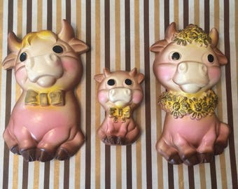 vintage chalkware elsie the cow family
