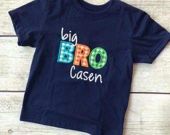 Personalized Big Bro Embroidered Shirt - Big Brother Shirt - Big Brother Announcement
