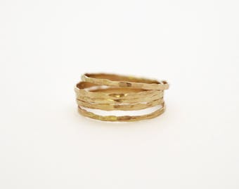 thin stacking ring, 14k gold filled thin lightly hammered stacking ring, super thin gold ring, super thin gold band ring
