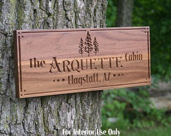 Family Name Sign, Custom Cabin Sign, Lakehouse Sign, Lake House Sign, Wooden Last Name Sign, Benchmark Custom Signs, Walnut TE