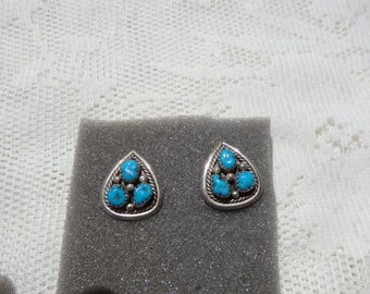 Vintage Sterling Silver Turquoise Nugget Earrings . Pierced Earrings,