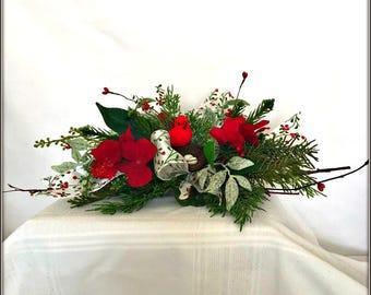 Christmas Table Centerpiece, Small Floral Cardinal Christmas Holiday Table Swag Centerpiece, Small Table Arrangement, Cardinal Bird