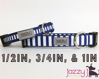 Royal Blue and White Striped Dog Collar (University of Kentucky Wildcats)