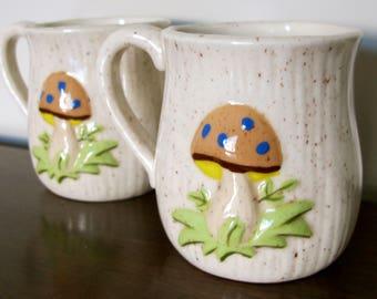 SALE - Mushroom Mugs - Pair of Vintage Ceramic Tea Mugs