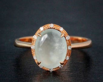 FLASH SALE Rose Gold Icy Jadeite Ring - Oval with Diamonds - Mint Green Jadeite Ring