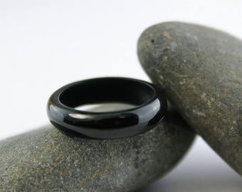 FLASH SALE Solid Black Nephrite Jade Ring - Comfort Fit - Carved Jade Ring